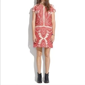 Madewell Red Paisley Patterned Silk Shift Dress